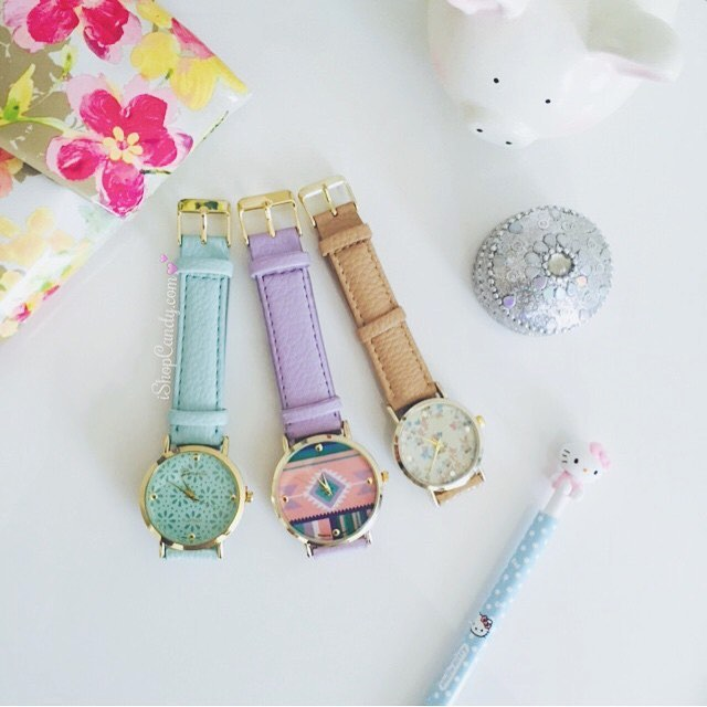 Which one is your favorite? | Shop: www.ishopcandy.com 💕 #ishopcandy #watches #jewelry #pastel #flatlay