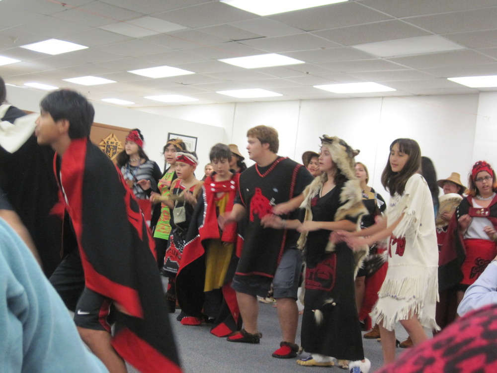 Metlakatla Presbyterian Youth Native Dancers perform.  Photo by Lorrie Nelson, CRE