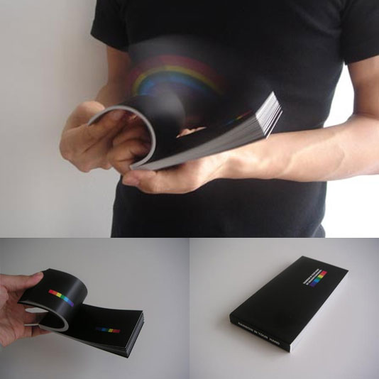 Rainbow in Your Hand   by Masashi Kawamura makes a rainbow          in the air when you flip through the book.  <—-Geh.