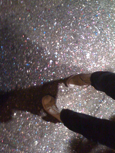 Glamour Avenue is paved in glitter. (Sidewalk outside Sugarland)