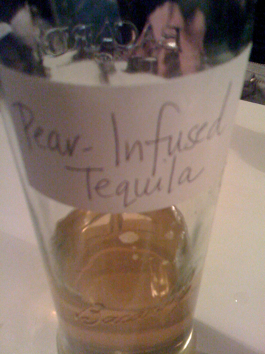 B's homemade pear infused tequila. Scrumdiddilyumptious, but the reason I'm still in bed at 2:53pm on a Tuesday.