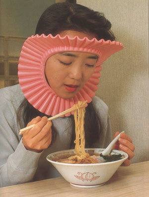 Noodle Eater Hair Guard  (via  furryrabbits )   I could seriously use one of these.
