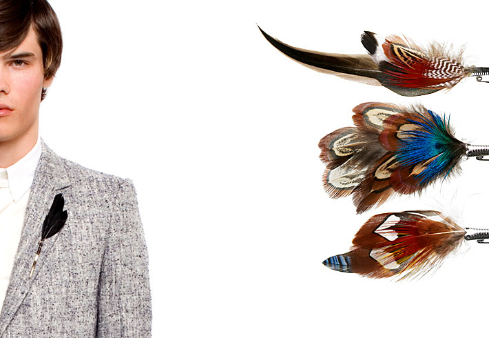 """Handmade by a German company that's been produced them in a small factory since 1924, these  feather pins  are crafted in the traditional style of a Bavarian gamsbart (typically worn on a hunter's hat).""   Badabing!"
