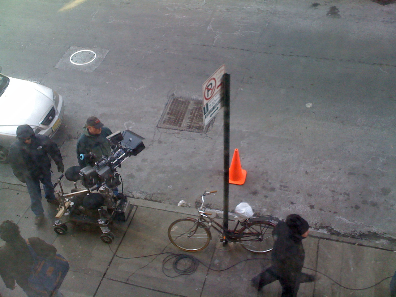 Filming something outside my window.  Waverly Place is such a mooovie set!
