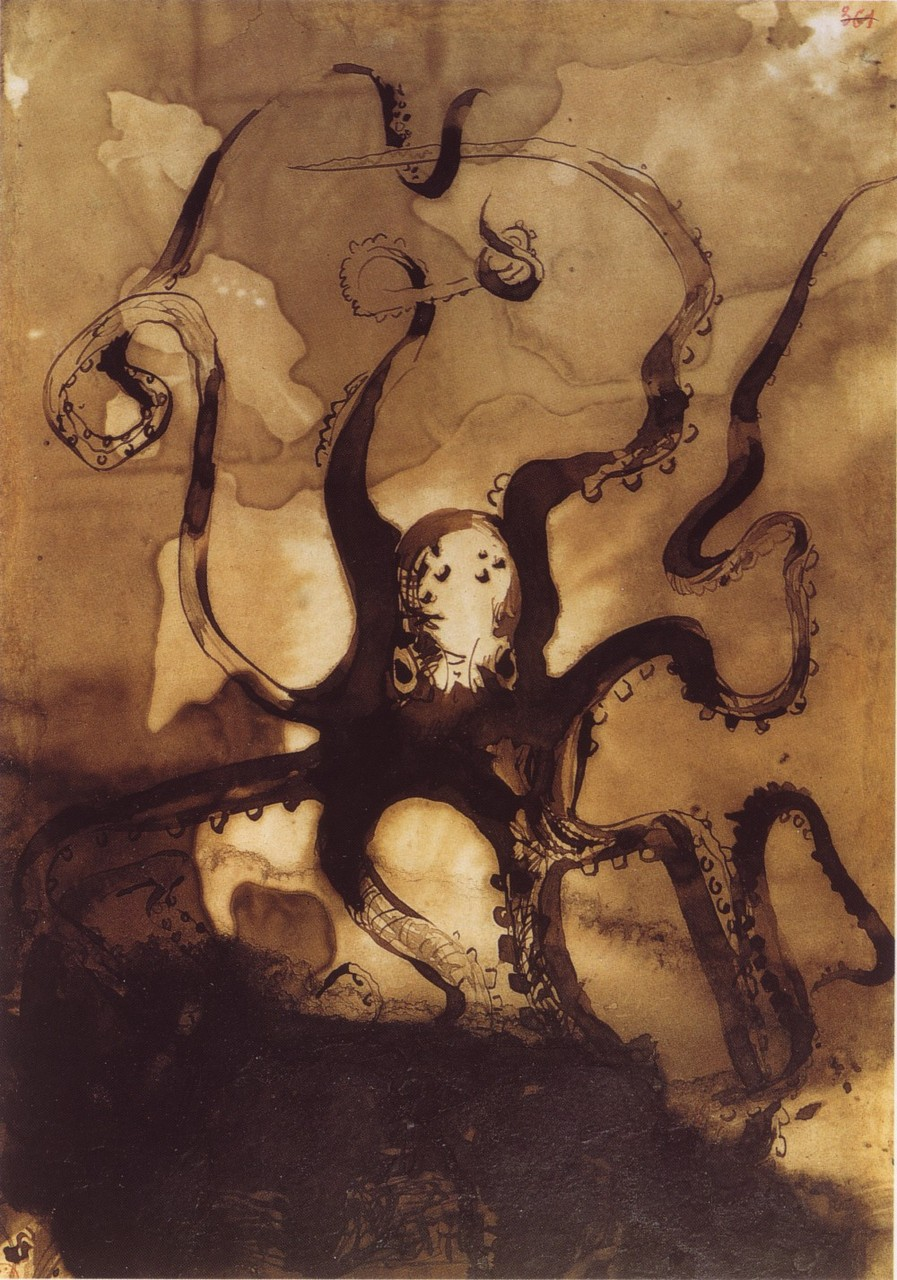 lafuguedantoine :      tsherr :     Ancient octopus unearthed, this drawing is from 1866.   (via  asprettyasasong : bjornstar )