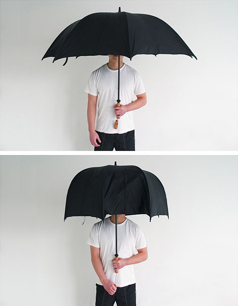 This is not good for my umbrella obsession.     Polite Umbrella :Polite Umbrella is a shrinkable umbrella that enables users to morph its shape in order to reduce occupied space and to increase user maneuverability. Users can easily adjust their umbrellas anytime by pulling a handle so that they can protect themselves from harsh winds or bumping into others.