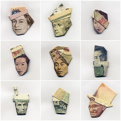 thedailywhat :      Origami of the Day:   Money Hats . That is all.