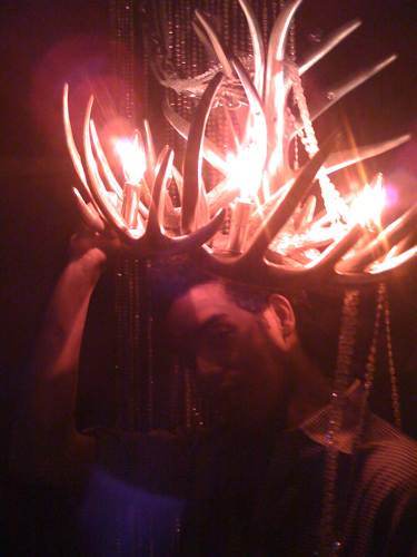 Jason cleverly fashioned this crown out of an antler chandelier.