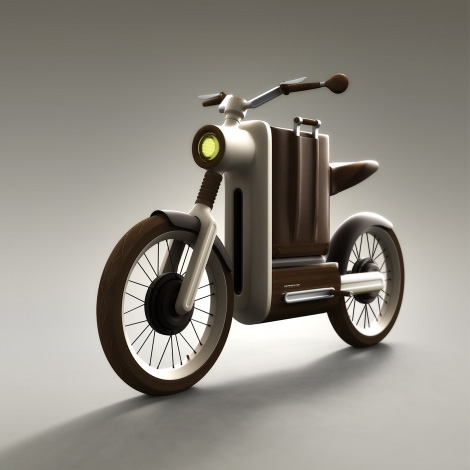 "Motobecane Motivo , by Miguel Ángel Iranzo Sánchez.   ""An electric motorbike for riding around town in style. It features in-wheel electric motors and a suitcase integrated in the frame of the bike which serves as a battery carrier to charge it back home effortlessly.  The Motobecane Motivo mixes noble materials like walnut wood and leather with the latest technology, and a quite industrial aesthetic with an atemporal artisan-esque flair."""