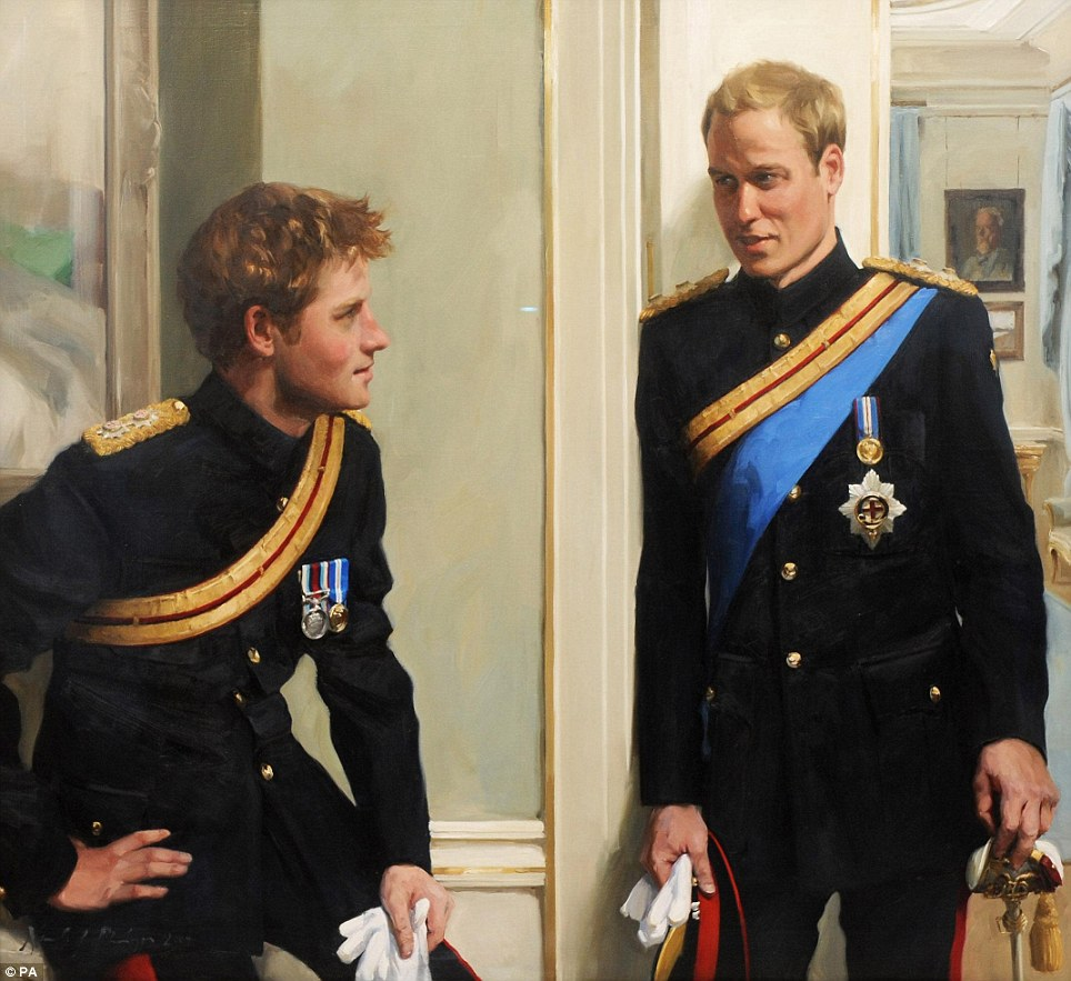 """""""Formally dressed, but informally posed.""""    hamandheroin :     First double portrait of Princes William and Harryby Nicola Philipps."""