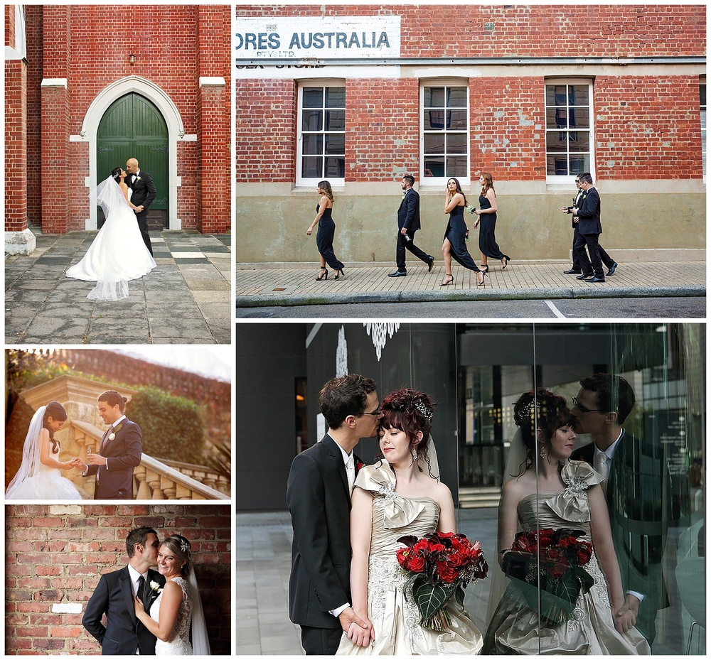 red brick wall wedding photo