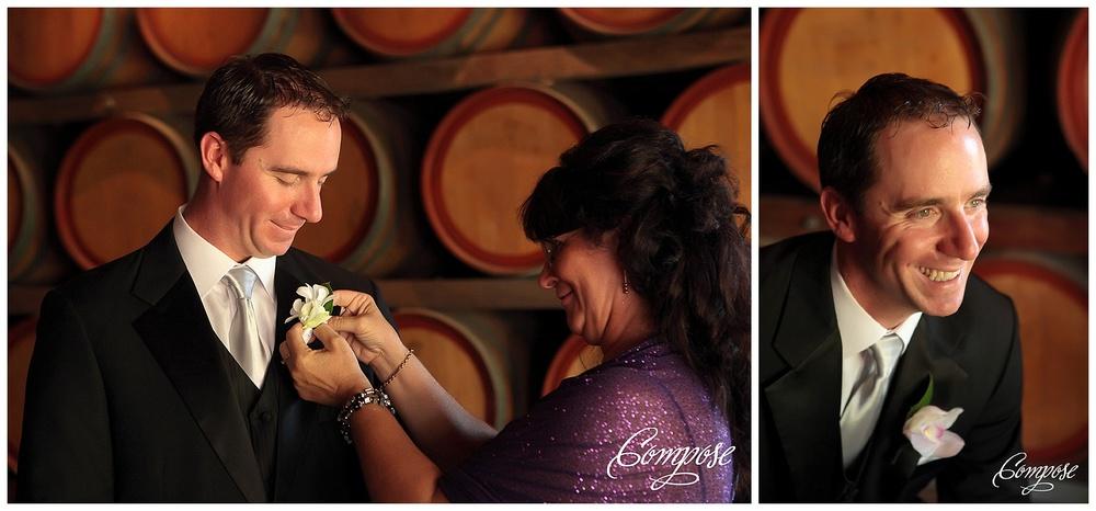 Wine barrel wedding photo