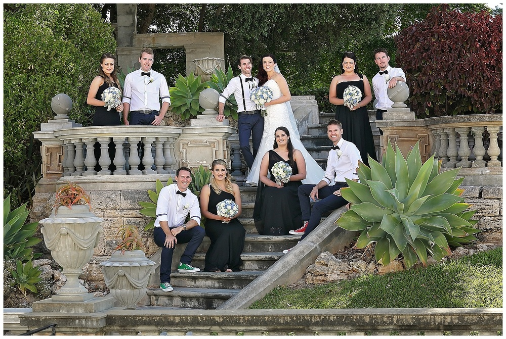 Wedding Photographer Perth showcasing how to make the most of posing a large bridal party.