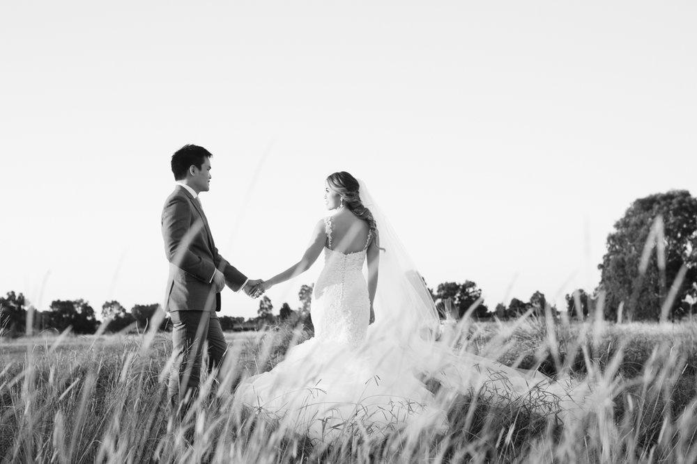 Swan Valley wedding in a field
