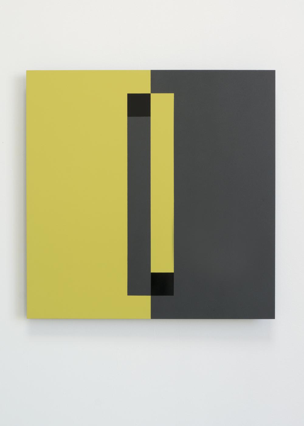"""2 Black Squares""  2014  20"" x 20""  spray paint on aluminum"