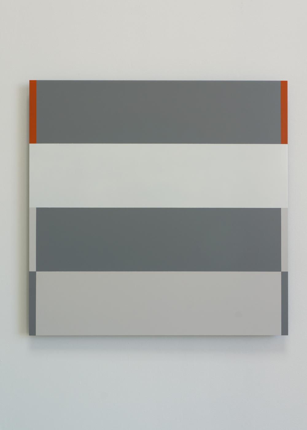 """2 Orange Corners""  2014  28"" x 28""  spray paint on aluminum"