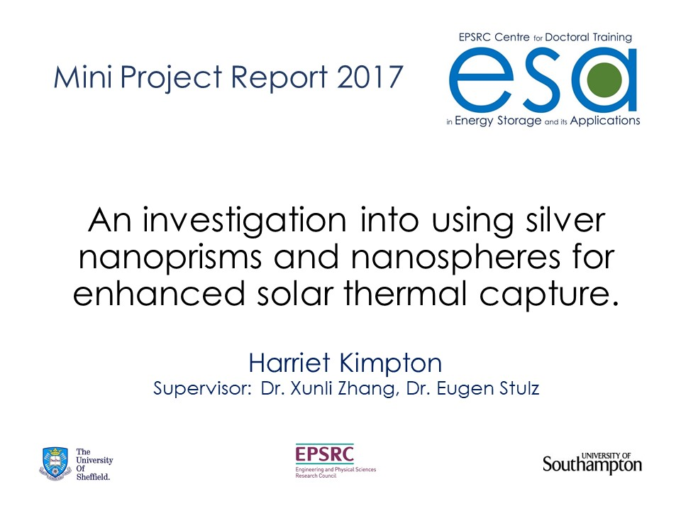 An investigation into using silver nanoprisms and nanospheres for enhanced solar thermal capture.