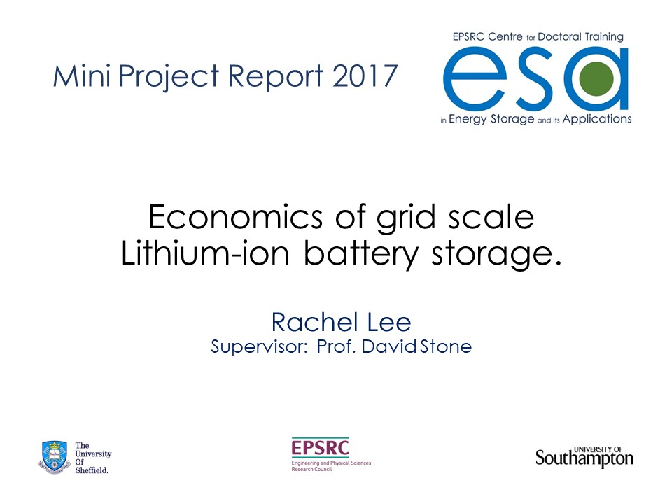 Economics of grid sale Lithium-ion battery storage using Goldsim.