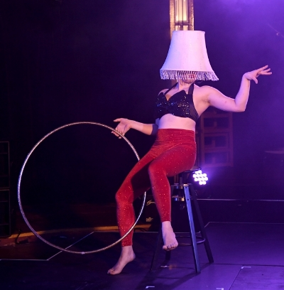 "Tara Silcock performing the first act of her ""Sexy Lamp"" piece  Photo courtesy of Brig Bee"