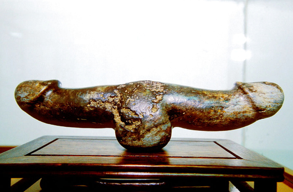 Double-headed marble phallic item on display at the China Sex Museum.