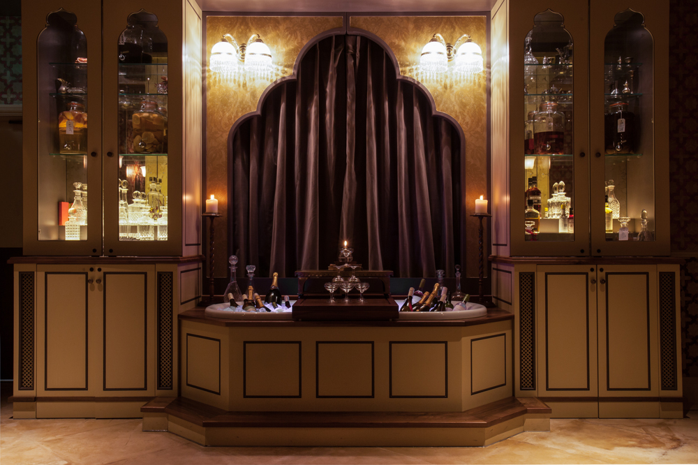 Victorian Bath House interior, ornately detailed champagne cooler