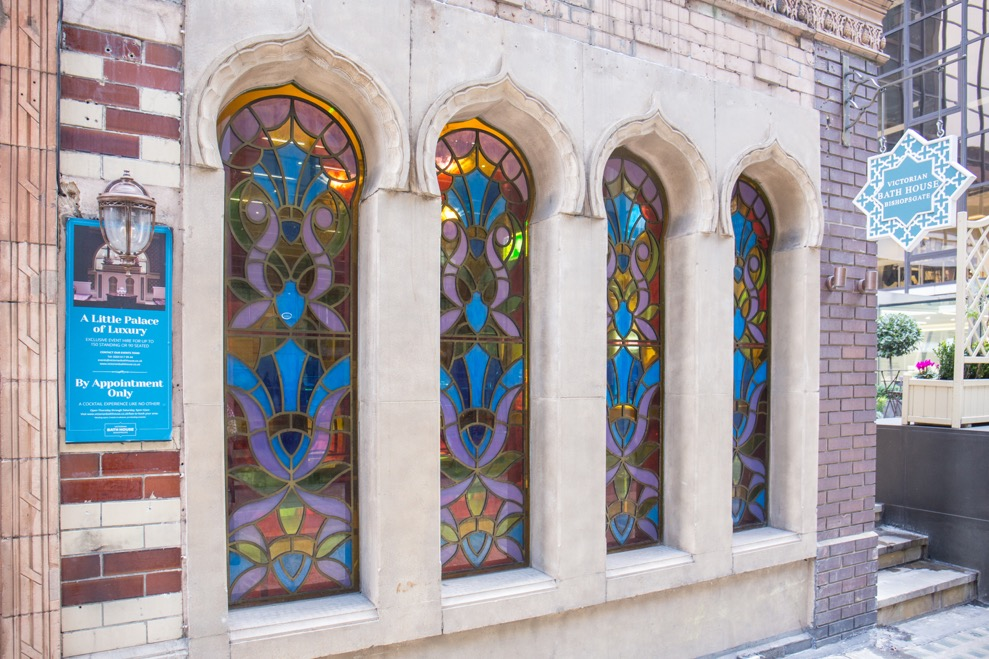 Victorian Bath House exterior, stained glass windows