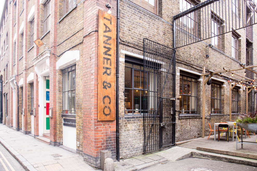 Tanner & co exterior, corner of the venue building showing the signage