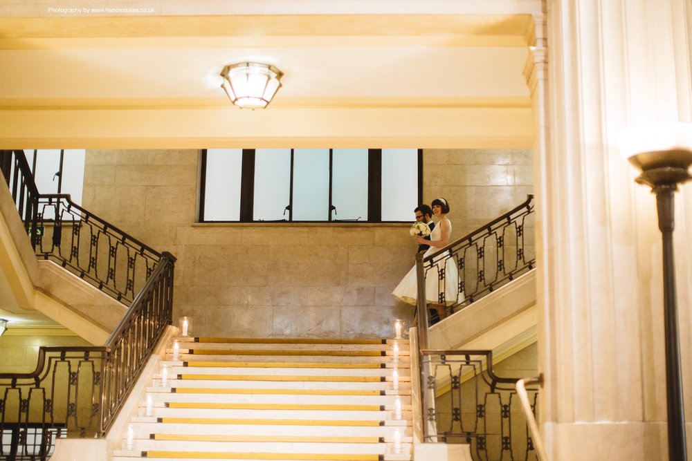 Banking Hall interior, the elegant marble staircase leading down to the hall