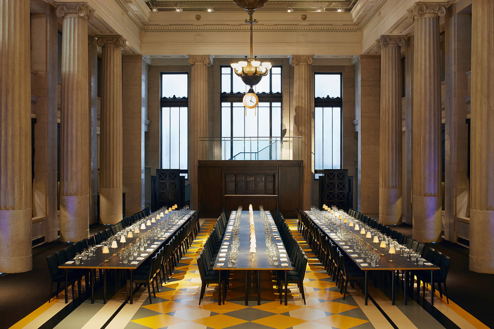 Banking Hall interior, banking hall with three long tables seating at least 200 people each