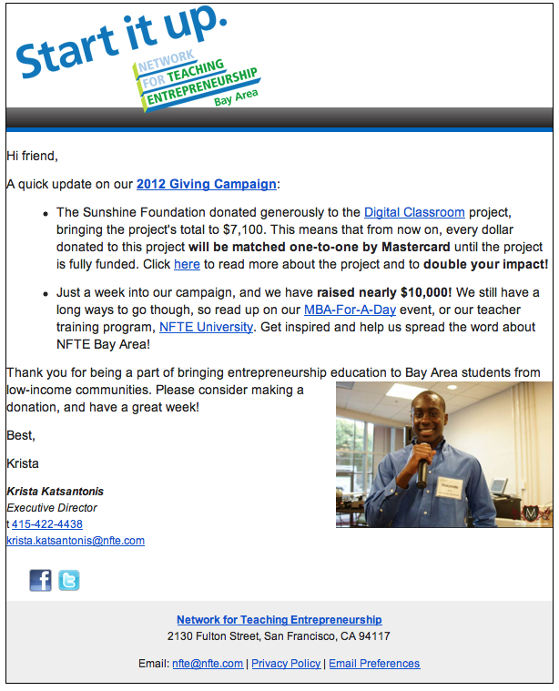 On NFTE's Newsletter      Image used for  NFTE 's newsletter. You can also view a video we produced right on their homepage!