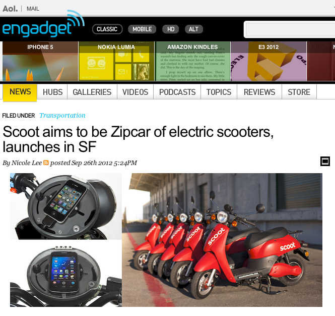 On Engadget: Scoot Networks    A couple shots produced by 8:45a makes it on  Scoot Network 's  article on Engadget !
