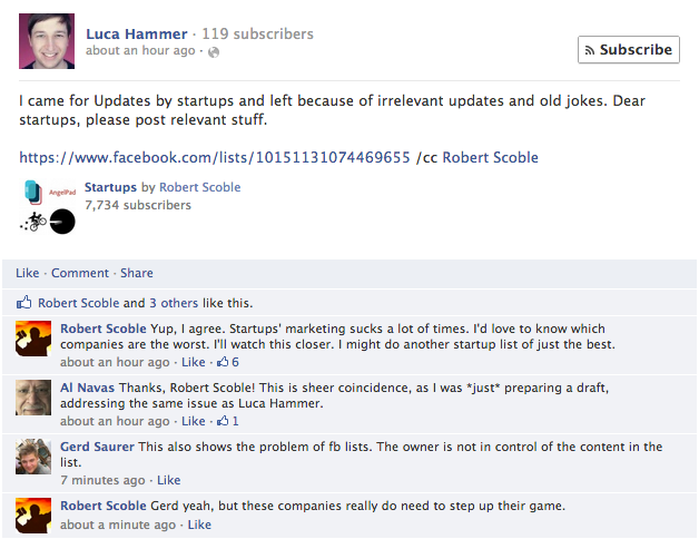 Small Cameo       It's small but cool to have some visibility at a Facebook post   Robert Scoble  commented on. See it?! :)