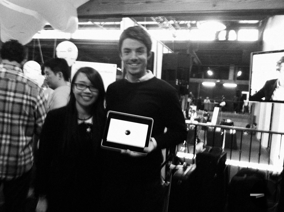 At TechCrunch Disrupt    The video produced for NFTE Launch was shown at TechCrunch Disrupt. Here is Adam Gorski with a NFTE student at their booth!