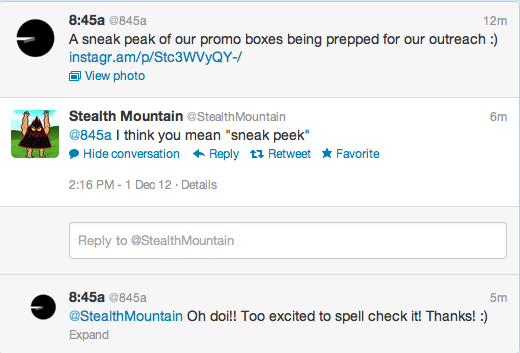 """Sneak Peak"" Typo In midst of the excitement of posting this up, @stealthmountain thankfully corrected us. :)"