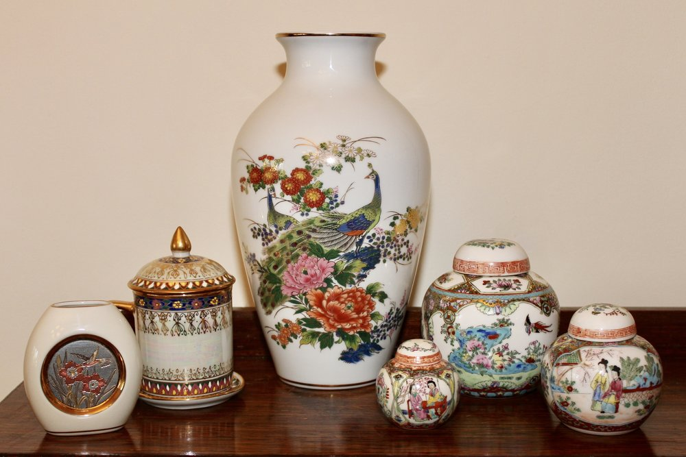 Asian Collectable Vases Ginger Pots Tea Cups And Chokin Retro Chick