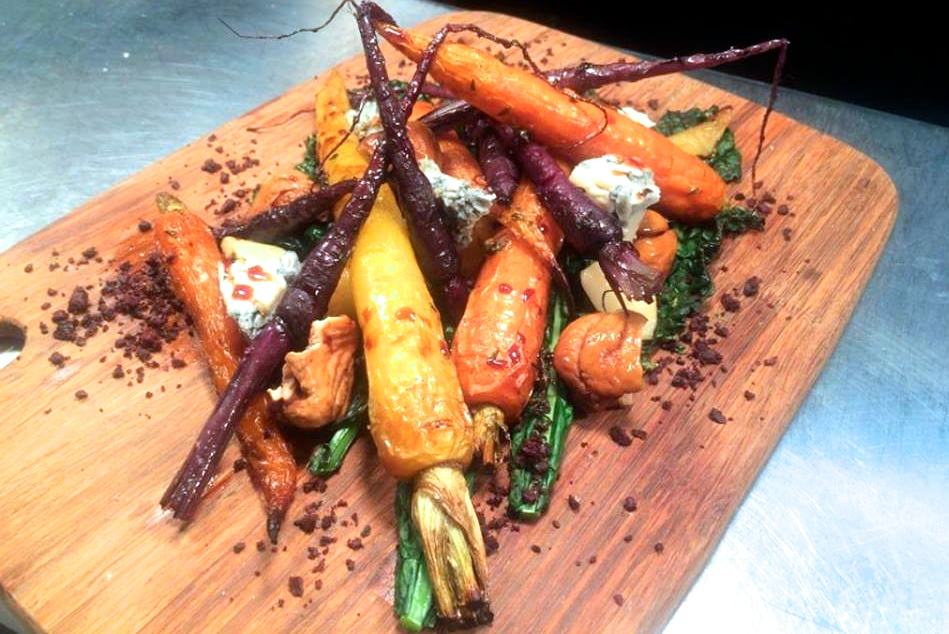 Roast baby carrots, chestnuts and gorgonzola cheese