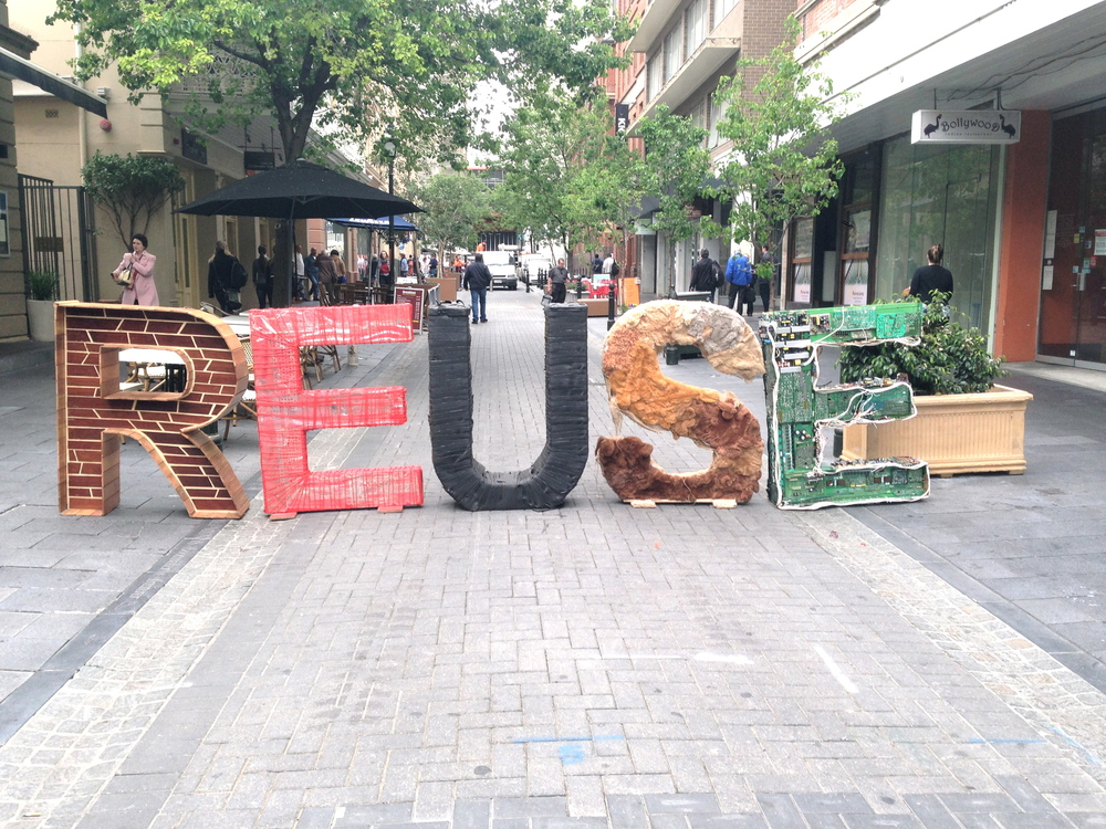 The Garage Sale Trail's REUSE letters on Leigh St