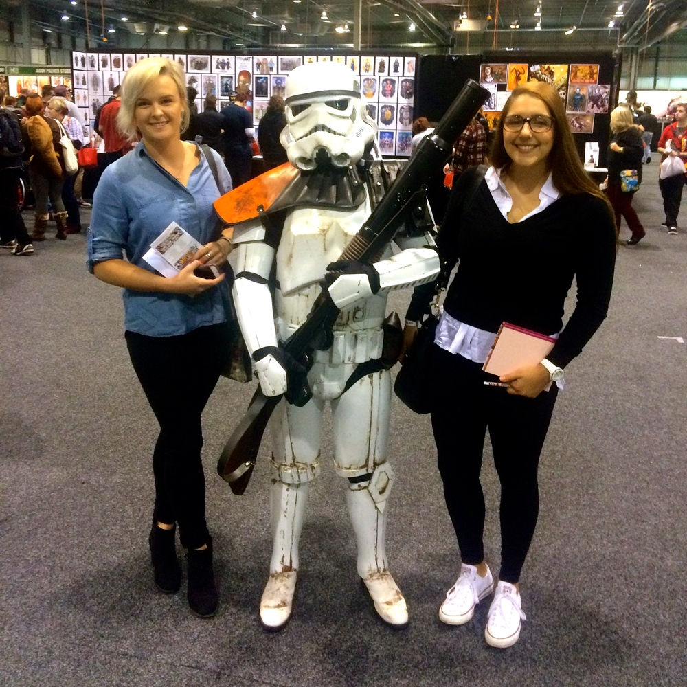 Our writers Rachel and Alexia with a storm-trooper on Saturday.