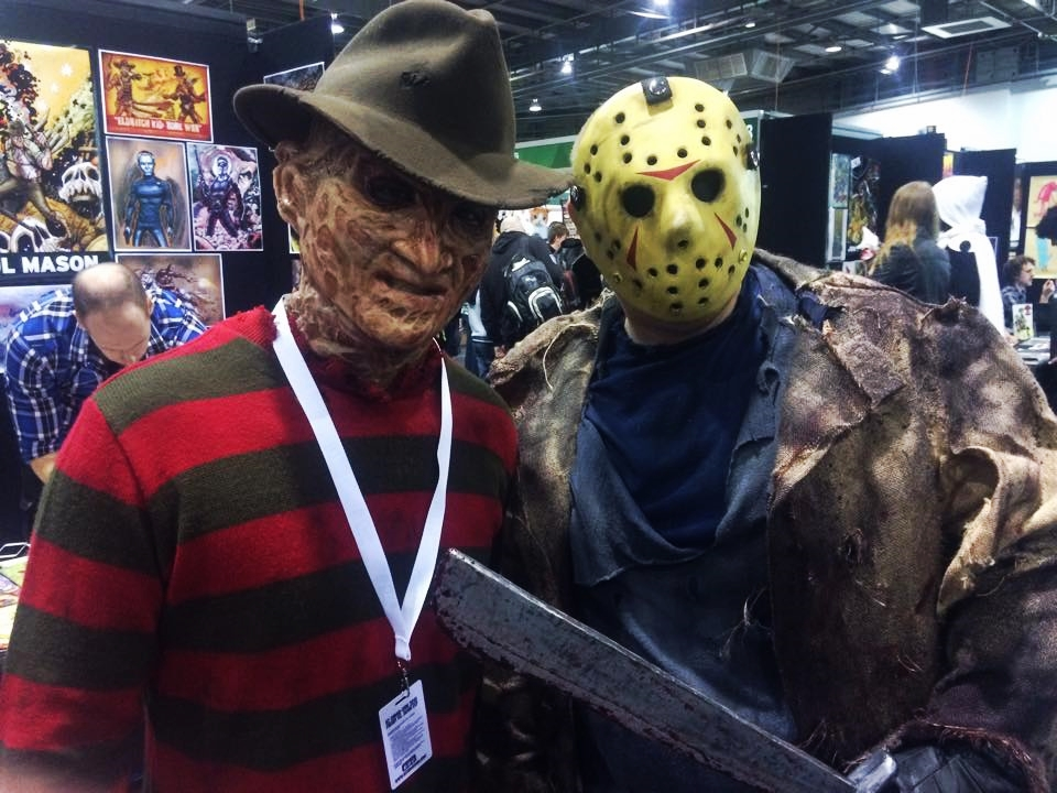 "Why did you choose to dress up for OzComic-Con? BOTH: ""Because Robert Englund is going to be here!"" Can you relate to the characters you have dressed up as today? BOTH: ""No. We hope not!"""