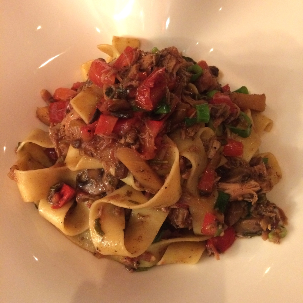 Papardelle with Roasted Chicken with Parsnip, Mushroom, Pancetta and Sundried Capsicum.