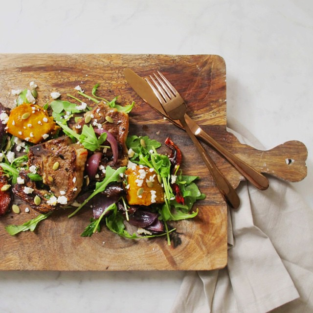Slow cooked lamb and roast vegetable salad