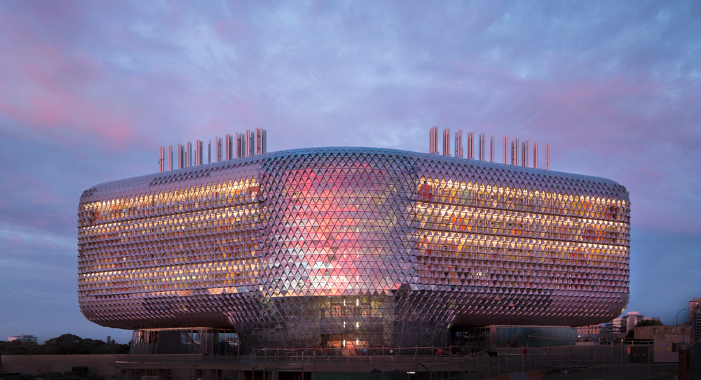 SAHMRI at sunset in Adelaide via Google