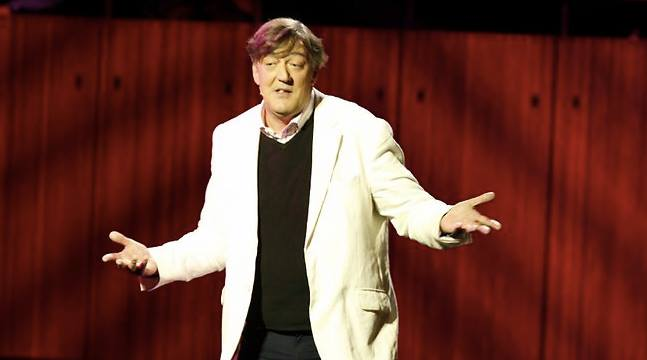 Stephen Fry speaking in his 2010 live appearance at the Sydney Opera House. Image credit: The Australian
