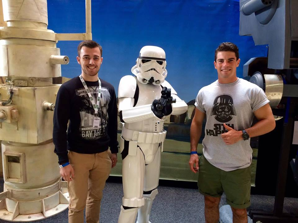 Our writers Andrew and Harrison with a Stormtrooper at the event.