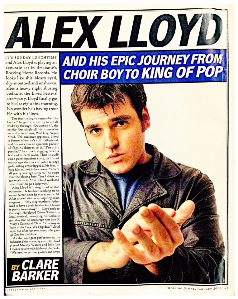 A classic from 'Rolling Stone Australia' in 2002. Image via Alex Lloyd's Facebook page.