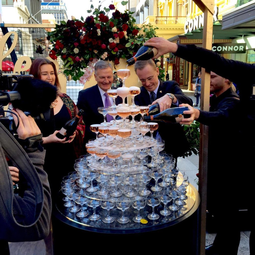 Lord Mayor Of Adelaide City, Martin Haese, helping with the champagne celebrations!