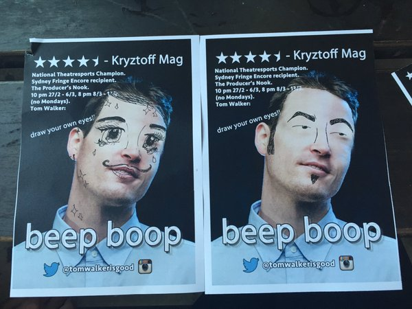 These are mine and my friend's interpretations of Walker's 'Draw Your Own Eyes' flyers last year.