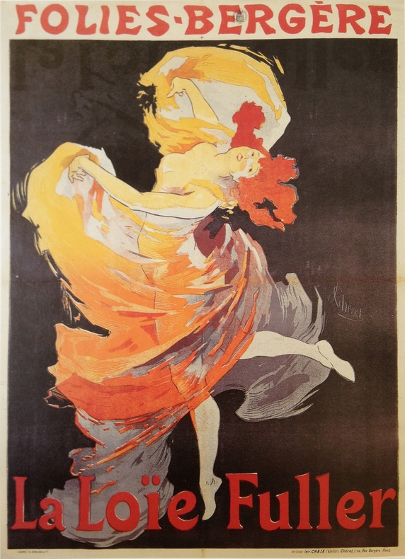 The now iconic poster advertising Loie's dance in 1893,  via danceheritage.org
