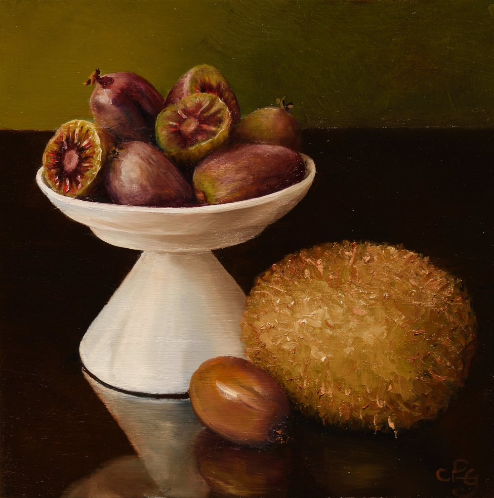 'K for kiwi fruit and kiwi berries.' Oil on board, 8 inches square.