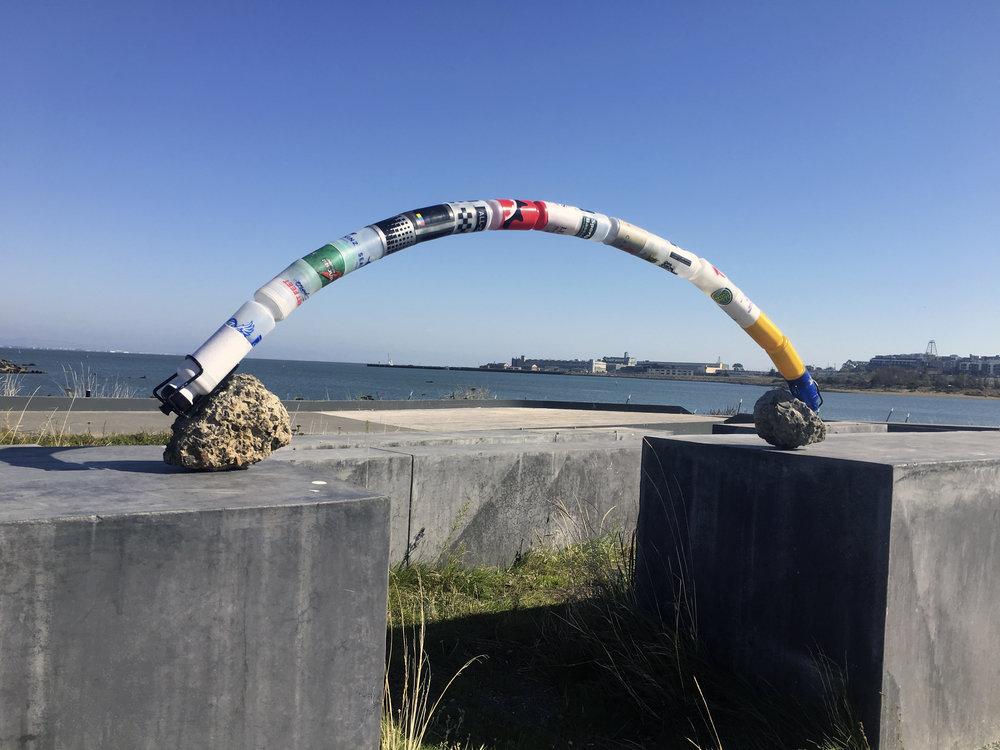 Water Bottle Viaduct, 2018. Reclaimed Bicycle Water Bottles.